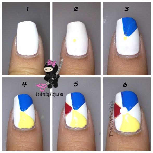diy beach ball nails