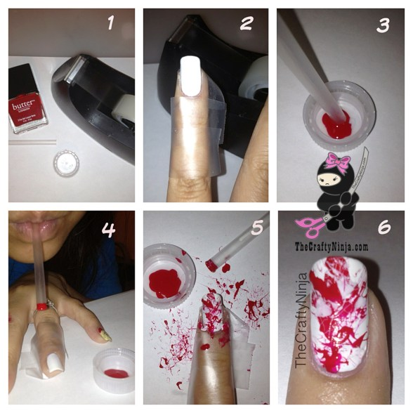 diy blood splatter nails