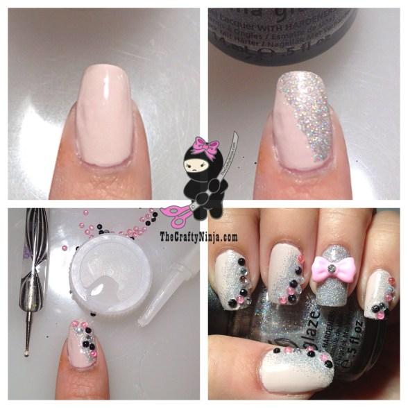 diy rhinestone nails