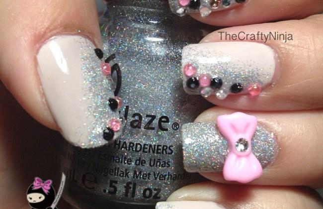 pink bow nails