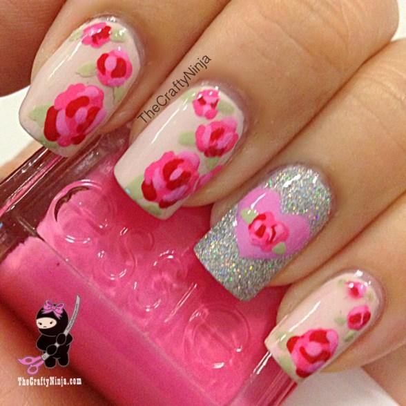 rose flower nails