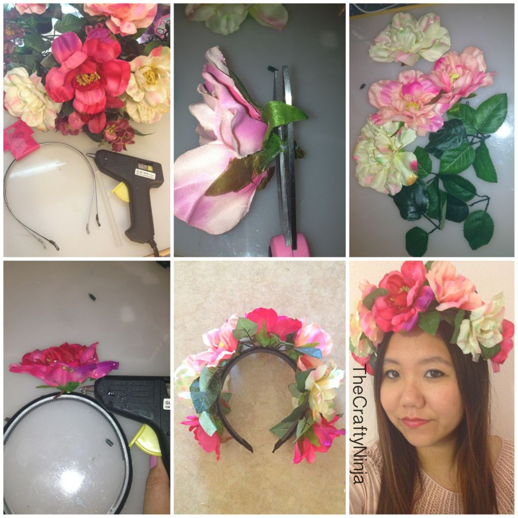 Diy flower crown headband the crafty ninja diy flower crown steps izmirmasajfo