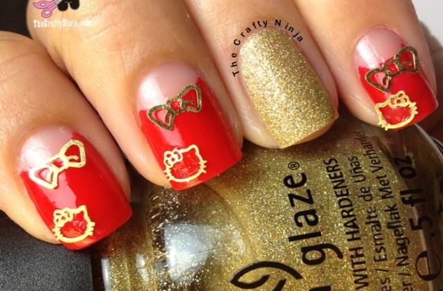 bow kitty nails
