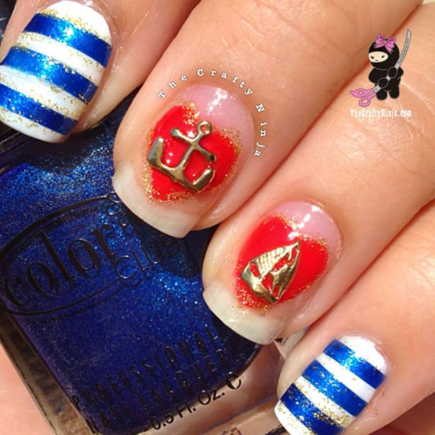 sailor stripe nails