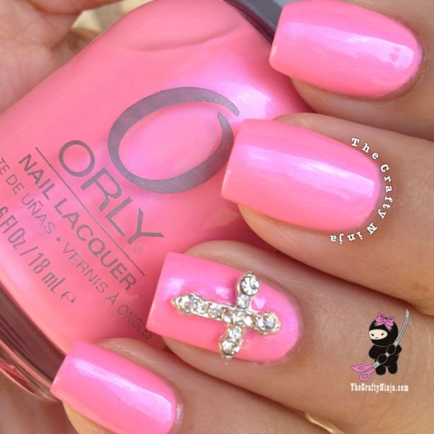 cross charm nail