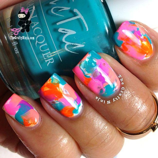 neon saran wrap nails