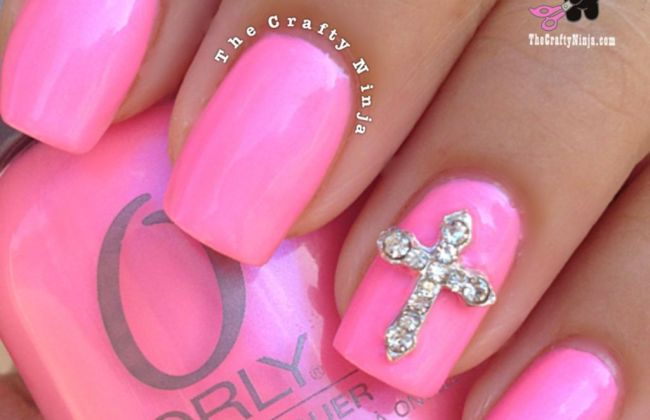 pink cross nails