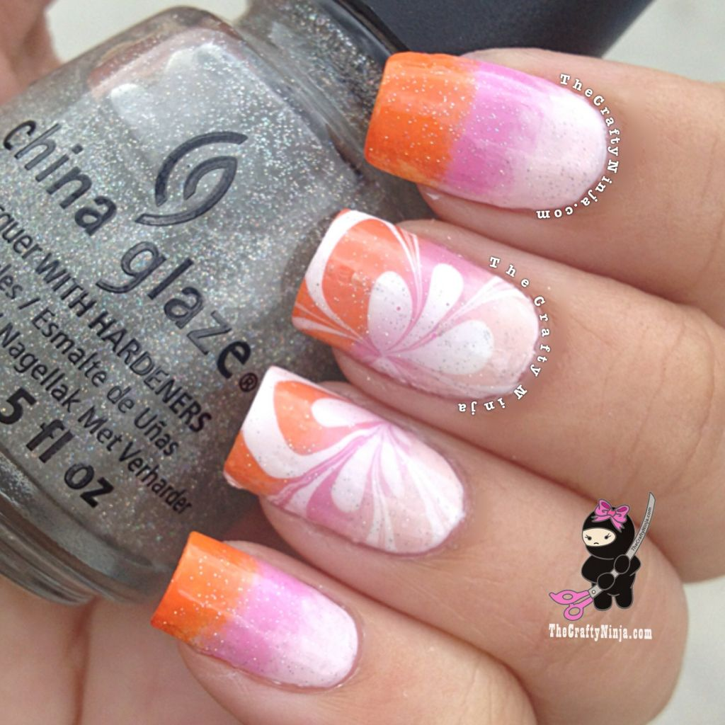 Gradient Flower Water Marble Nails The Crafty Ninja