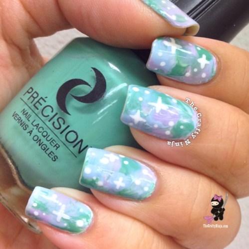 Galaxy Saran Wrap Nails