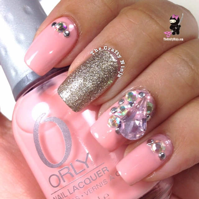 pink rhinestone nails crafty