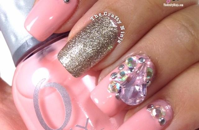 Pink Rhinestone Nail
