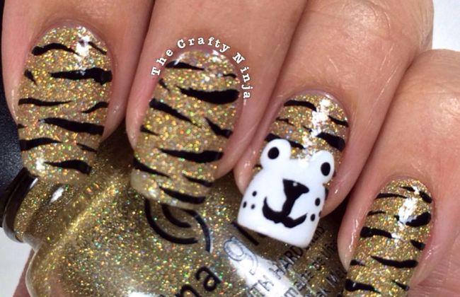 Tiger print nail art the crafty ninja animal print nails prinsesfo Image collections