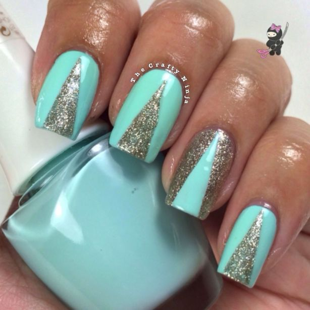 Mint And Gold Chevron