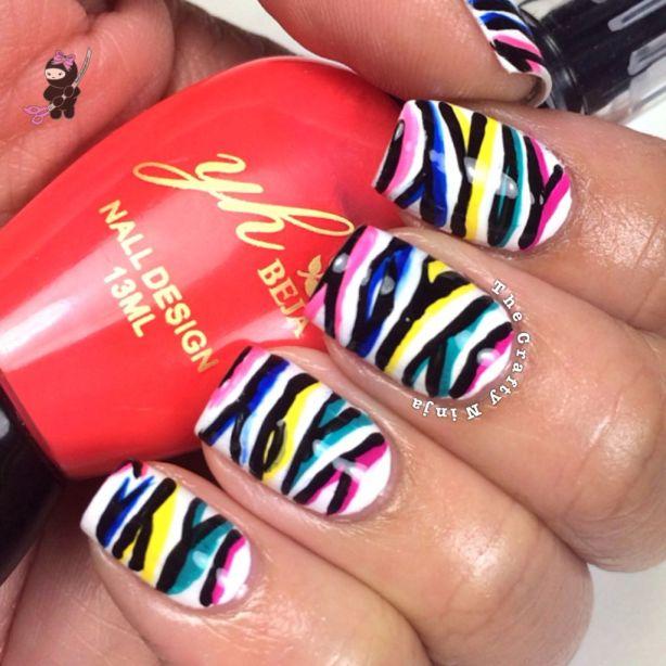 Neon Zebra Nails