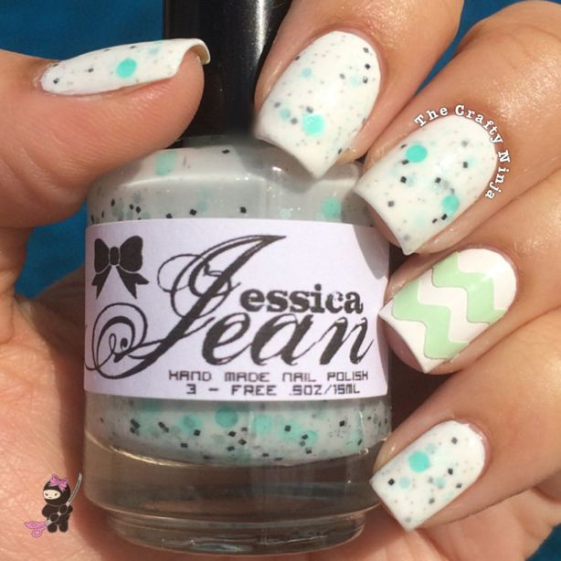 Mint Chevron Nails