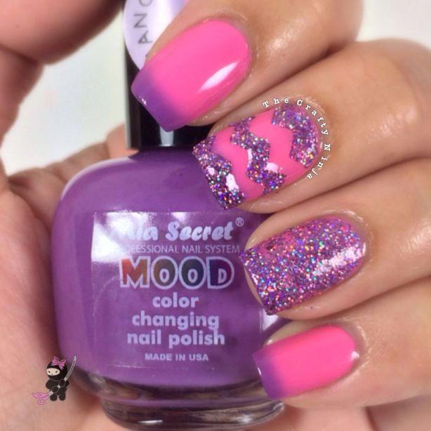 Purple Glitter Chevron Nails