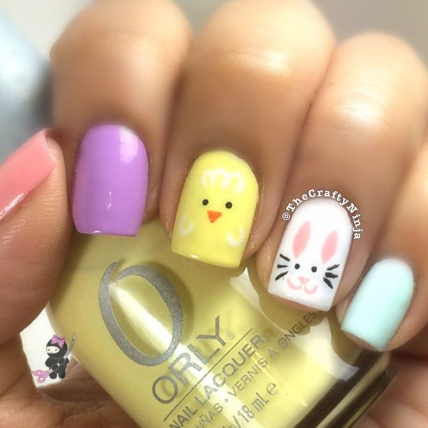 Easter Bunny Chick Nails The Crafty Ninja