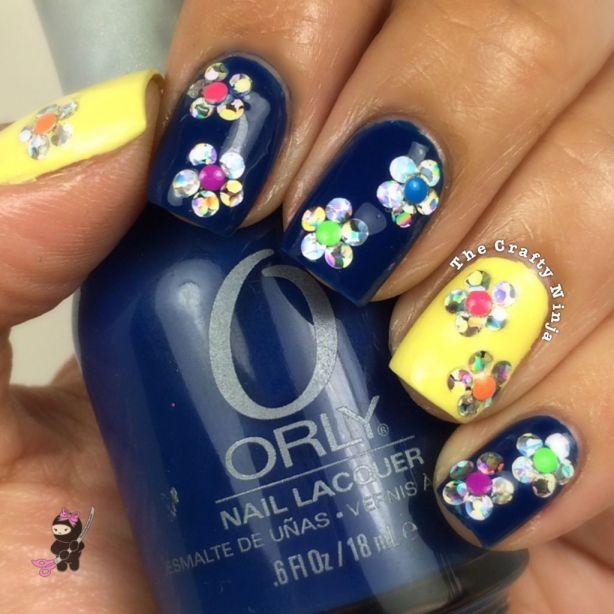 Glitter Spring Flower Nails