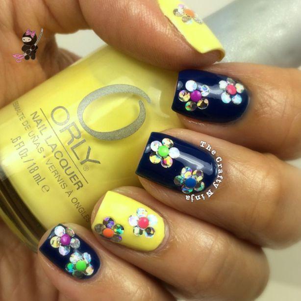 Neon Studs Flower Nails