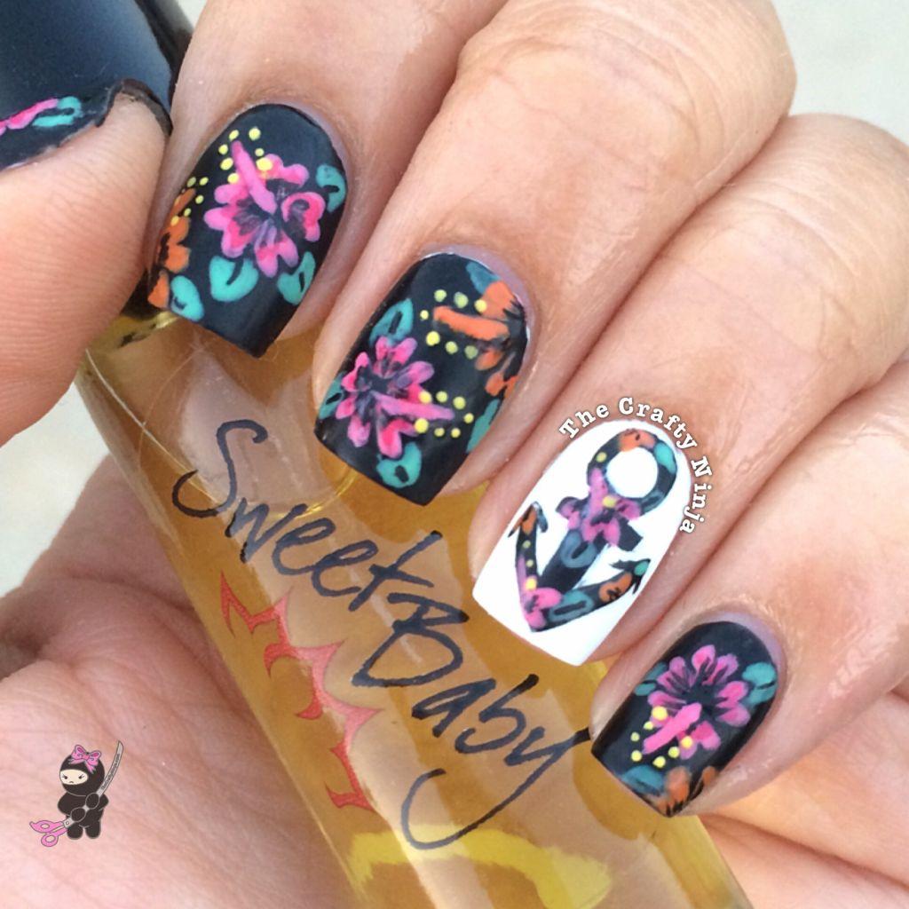 Nail Art Tutorial Nautical Nail Art Using Cuccio: Hibiscus Anchor Flower Nails