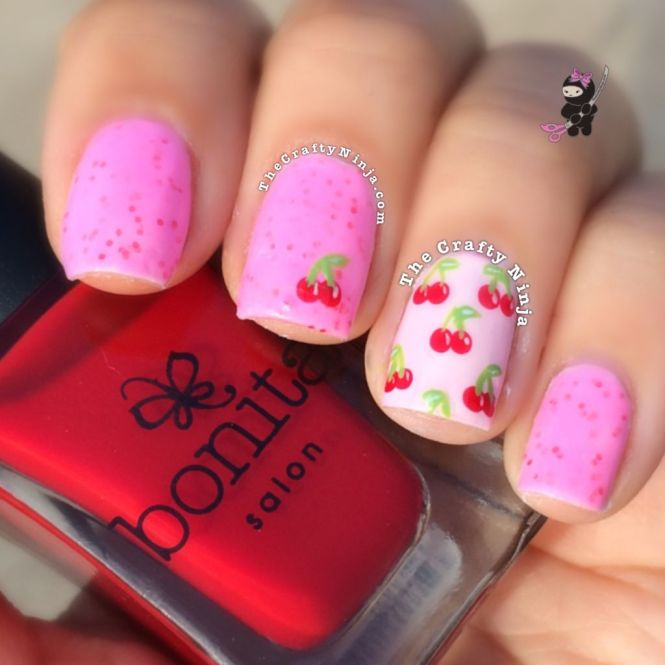Super Cute Cherry Nail Art Tutorial With Intricate Details