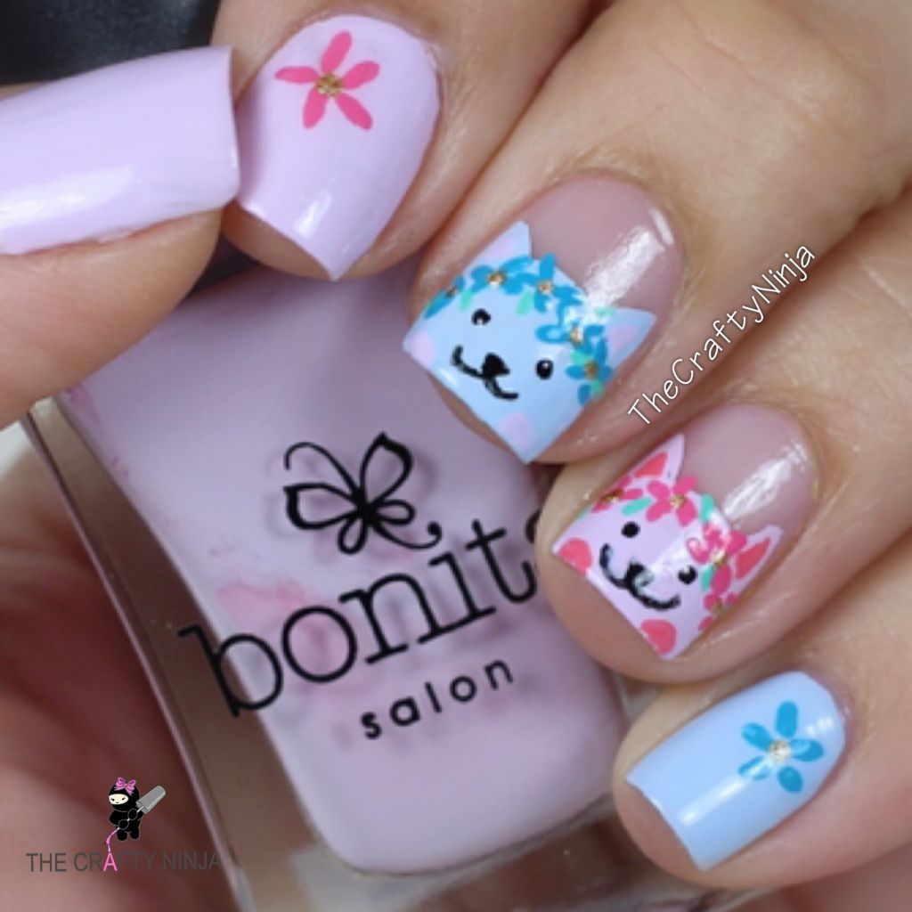Kitty Flower Nails