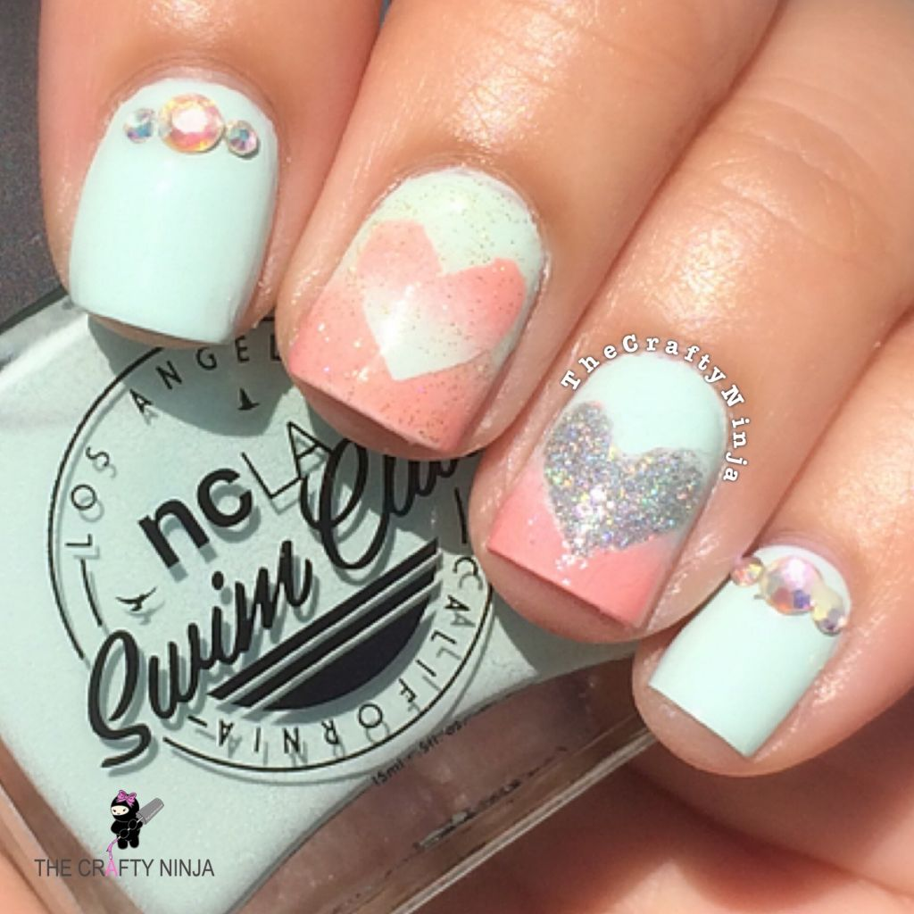 Ombre Heart Nail Art