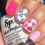 gingham print cherry nails