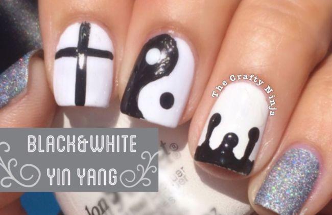 Black and white yin yang nails the crafty ninja
