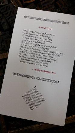 Sonnet 116, printed in June 2016
