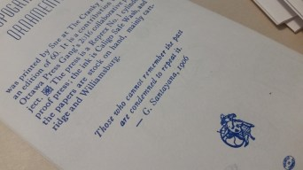 Colophon: the words of George Santayana