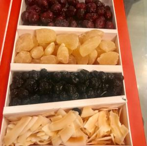 Assorted dried fruits from Flyberry Gourmet.
