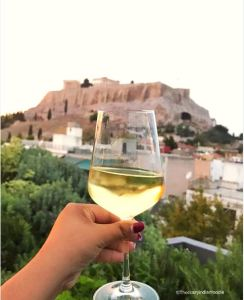 Wine with a view at Sense Restaurant, AthensWas Hotel, Greece.