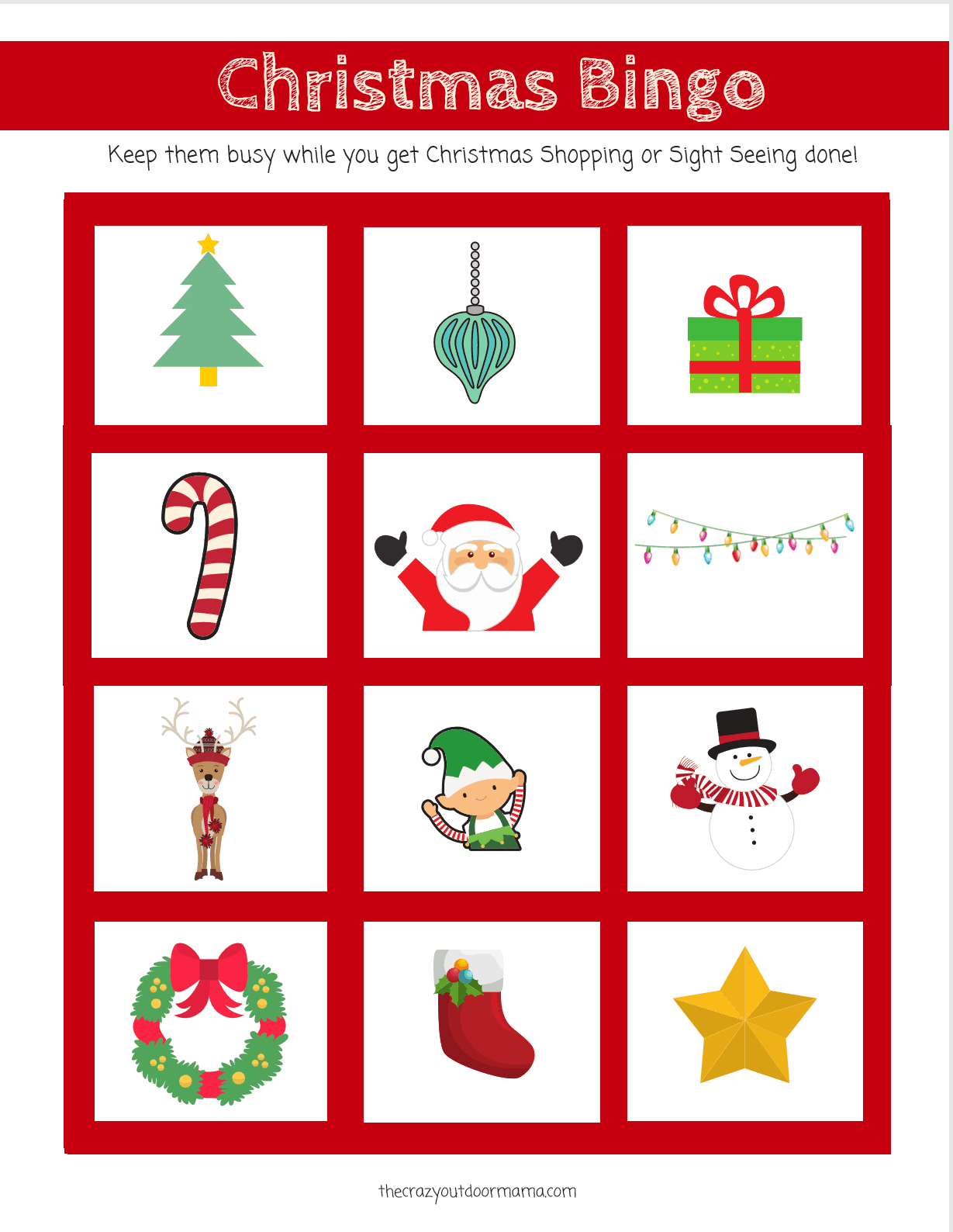 Cute And Fun Christmas Bingo Scavenger Hunt Game For Kids