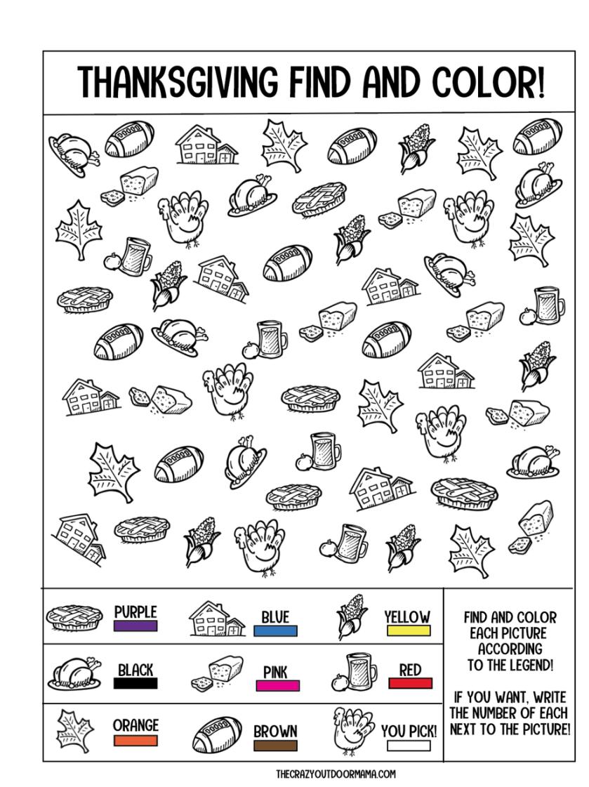 4 free thanksgiving printables for kids (scavenger hunt i