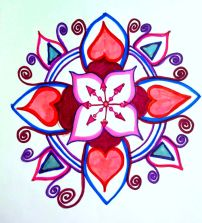 blue red heart mandala