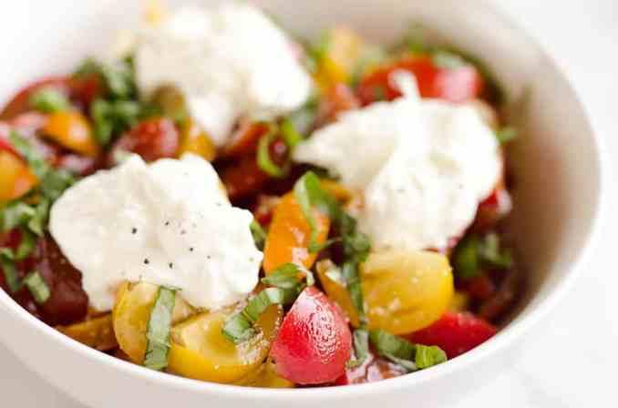 Fresh Tomato Basil & Burrata Salad - Easy 5 Minute Salad
