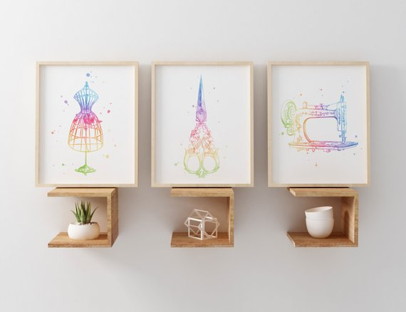 Watercolour style art prints for the sewing room