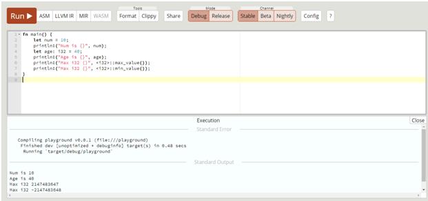 i8 i16 i32 i64 isize primitive datatype in rust