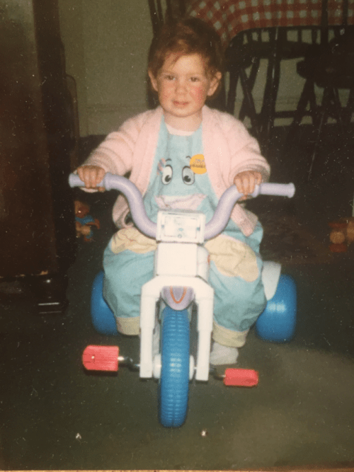 Me, circa 1991. Current ambition: motorcycle stuntwoman.