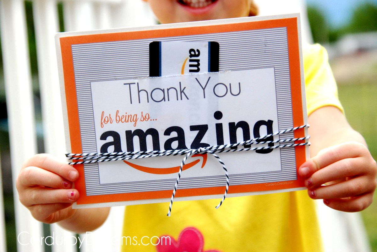 Thank You with Amazon Gift Card {free printable download