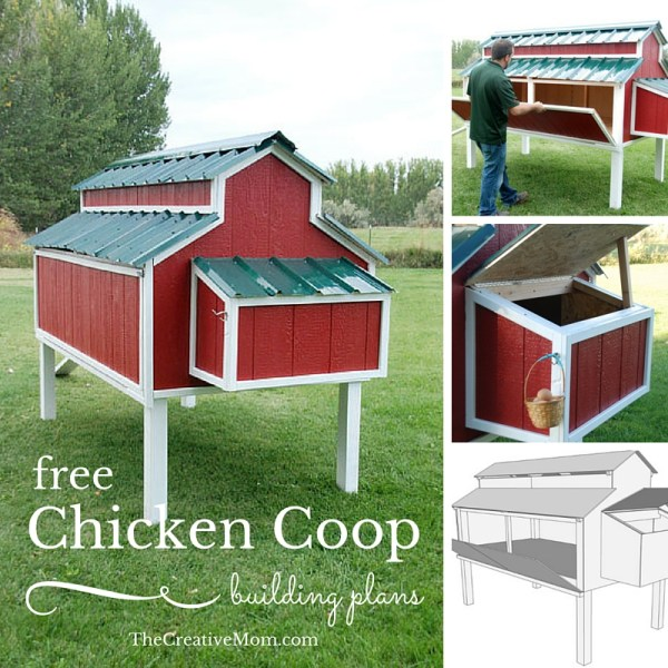 Free chicken coop plans the creative mom for Can ducks and chickens share a coop