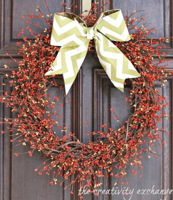Fall Berry Wreath With Diy Scrap Fabric Bow