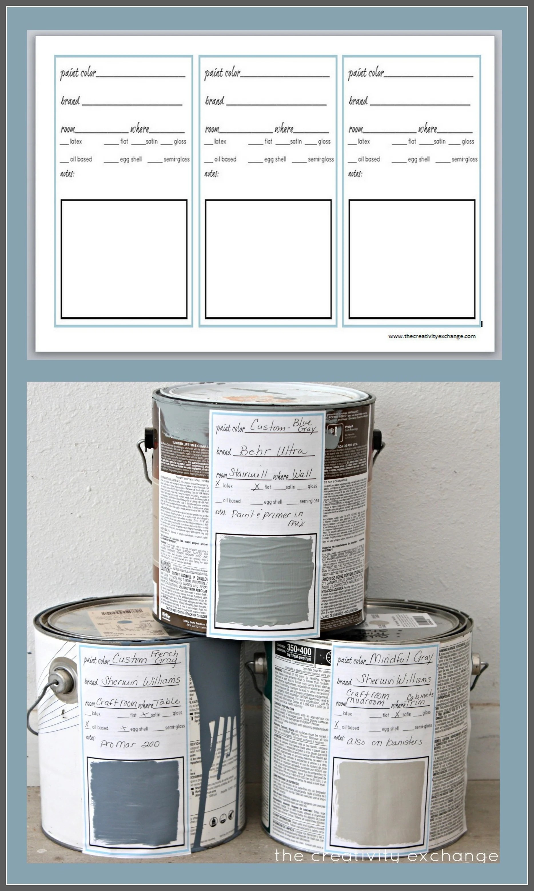 Printable Labels For Paint Cans And Color Binder Sheets