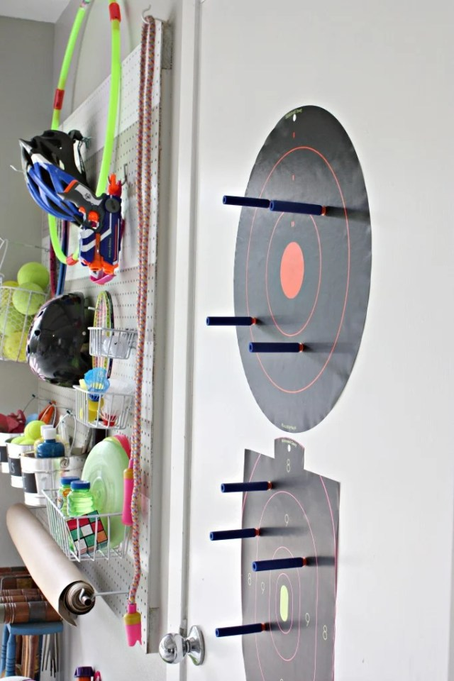 DIY Garage Pegboard Outdoor Toy Storage Wall {The Creativity Exchange} ScotchBlue Tape