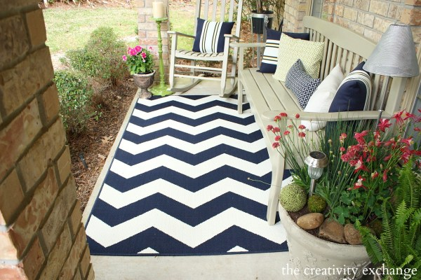 outdoor patio rug Hello Spring! Front Porch Revamp