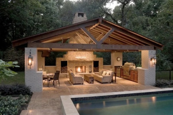 pool house with outdoor kitchen Creative Pergola Designs and DIY Options