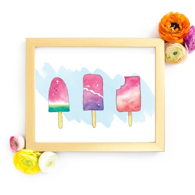 Free Popsicle Watercolor Print