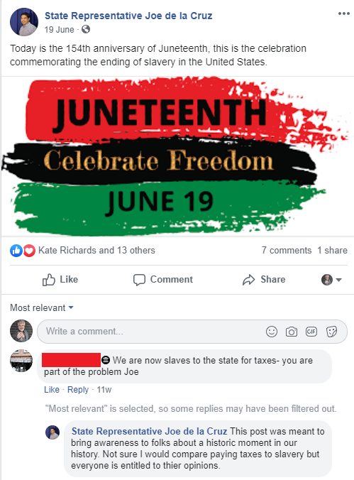 On a post about Juneteenth, a detractor tries to compare taxes the slavery, and the official effectively responds with dignity.