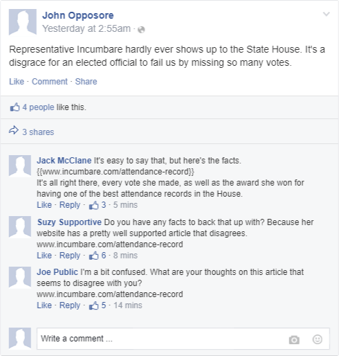 Sample social media discussion with support from campaign
